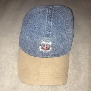 4d8a28a161f STUSSY DENIM SUEDE CREST CAP